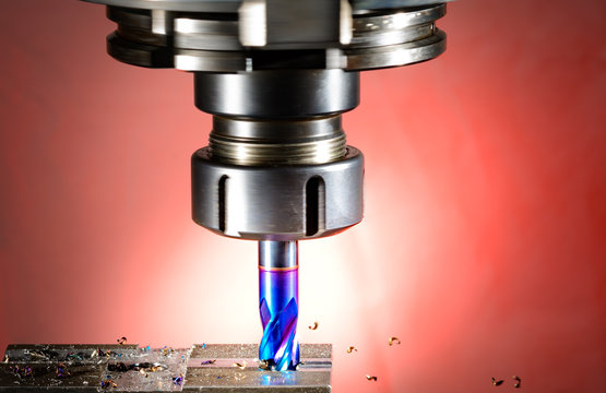 cnc milling machine - spindle with blue cutter, Versions: .natur