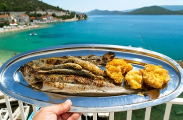 A plate of grilled fish and a beautiful view of the blue sea
