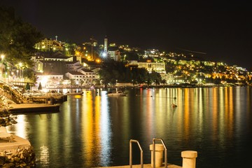 Beautiful night landscape of Neum city, popular resort in Bosnia and Herzegovina