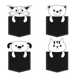 Animals in the pocket. Cute cartoon dog, bear, fox, kitten contour kitty character. Dash line. Pet animal collection. White and black color. T-shirt design. Baby background. Isolated. Flat