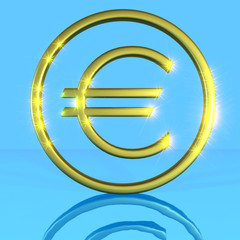 Golden shiny metallic euro symbol on a blue background with water reflection framed.3D generated image rendering