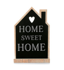Text HOME SWEET HOME on house shaped chalkboard isolated on white. Family concept.