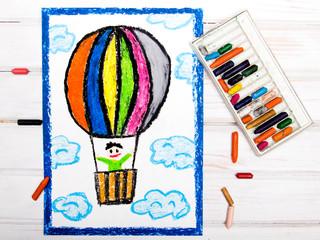 colorful drawing: hot air balloon