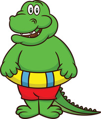 Alligator with Pool Float Cartoon
