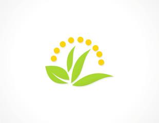 green leaf ecology cosmetic logo.