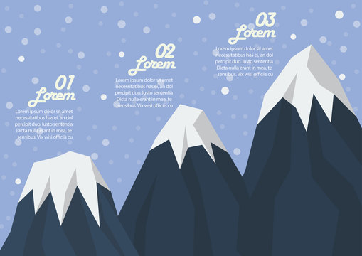 Step of three mountain peak infographic