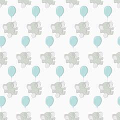 Floating Elephant Seamless Pattern