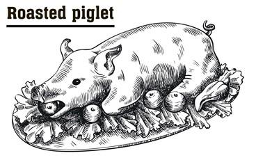 Roast suckling pig. Roasted piglet with vegetables on platter.