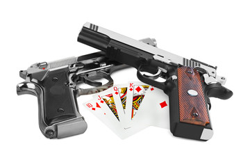Guns and playing cards