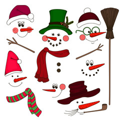 Cute face snowmen collection. Vector illustration.