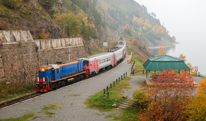 Tourist train on Circum-Baikal Railway