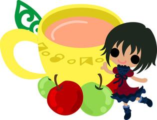 A cute little girl and the apple tea