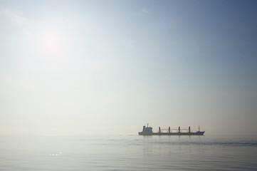 Cargo ship in morning mist, British Columbia, Canada.