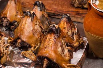 Whole baked lamb heads, Morocco