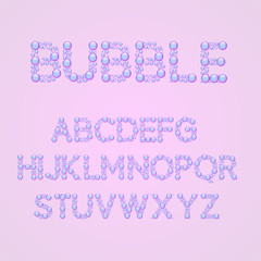 Vector bubbles alphabet , isolated on a purple background, bubble font, letters