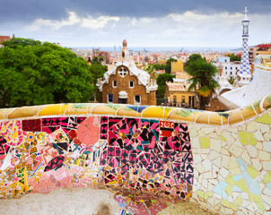 Photo sur Toile Europe Centrale View of Park Guell in Barcelona