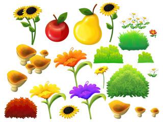 Cartoon set of elements - flowers fruits mushrooms bushes - illustration for children