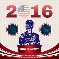 Digital vector usa election with republican and democrat, who is next, flat style
