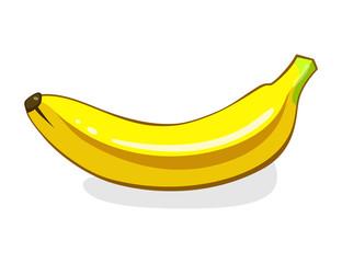 Banana. Single Ripe yellow Fruit. Vector illustration isolated on white background. Eco vegetarian food