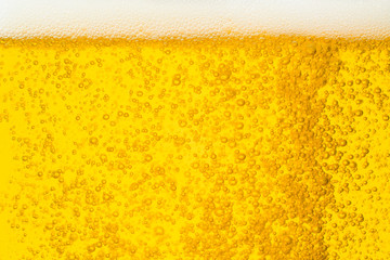 Close up bubble of beer in glass