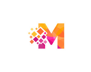 M Letter Multiply Colorful Shadow Logo Designs Element