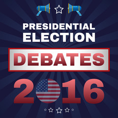 Digital vector usa election with presidential debates, megaphone, flat style
