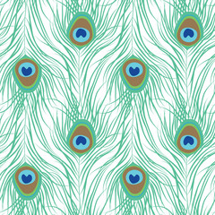 Peacock feather seamless pattern. Vector illustration
