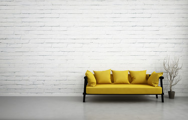3d illustration of empty white interior with yellow sofa, blank brick wall, minimalist living room
