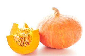 Fresh pumpkin cut on white background.