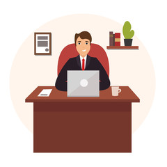 Businessman Working at Office Table. Vector