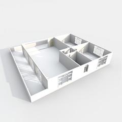 3d interior rendering of empty paper model home apartment with balcony: room, bathroom, bedroom, kitchen, living-room, hall, entrance, door, window