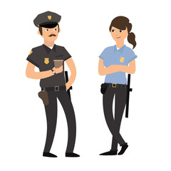 Policeman and Policewoman in Uniform. Vector