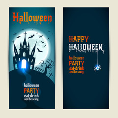 Halloween vertical banners set on blue and darkblue background.