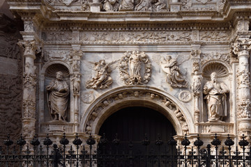 Entrance (Renaissance style) of Collegiate church of Santa Maria la Mayor, Calatayud. Zaragoza province, Aragon, Spain