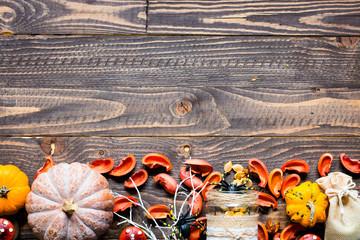 Halloween pumpkins, on wooden background