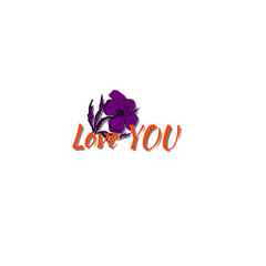 vector i love you with cartoon flower