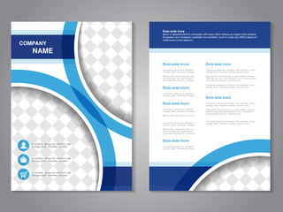Vector modern brochure, abstract flyer, simple design with parts of circles for your photos or images. Layout template. Aspect Ratio for A4 size. Poster of blue, dark blue and white color.