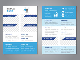 Vector modern brochure, abstract flyer, simple design with blank places for your rectangle photos or images. Layout template. Aspect Ratio for A4 size. Poster of blue, dark blue and white color