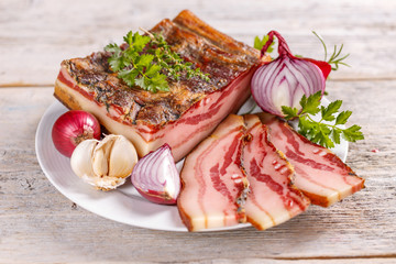 Smoked fat bacon