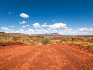 a wide shot of the harsh arid red landscape of the australian outback bush, with a vivid blue sky backdrop