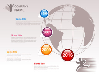 Vector timeline. Infographic template for company. Timeline with colorful milestones - blue, magenta, orange, red. Pointer of individual years. Graphic design with globe. Profile of company.