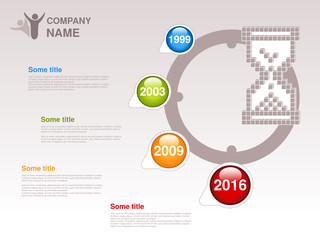 Vector timeline. Infographic template for company. Timeline with colorful milestones - blue, green, orange, red. Pointer of individual years. Graphic design with clock, hourglass. Profile of company.