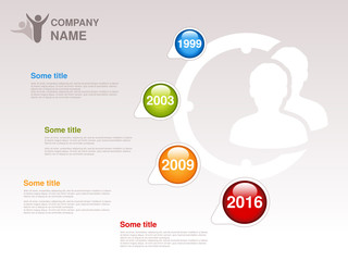 Vector timeline. Infographic template for company. Timeline with colorful milestones - blue, green, orange, red. Pointer of individual years. Graphic design with clock and silhouettes businessman