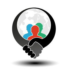 Vector community symbol with handshake symbol. Simple silhouettes of men with handshake gesture and globe from puzzle.