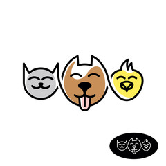 Pet store logo. Funny cat, dog and bird heads linear style illustration.