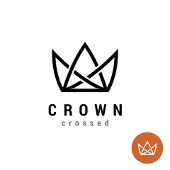 King crown linear logo. Silhouette of a crown in a line style.