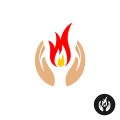 Care hands with fire inside color logo.