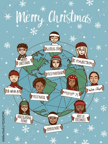 christmas around the world hand drawn doodle faces with merry christmas signs in different languages