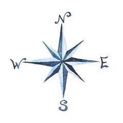 Compass Rose Nautical Watercolor Illustration Hand-painted Isolated Sea Element Navy Blue Ocean