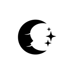 Moon face with stars black silhouette logo.